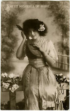 c 1910 Sweet Memories of Home Lovely MANDOLIN BEAUTY Musical photo postcard