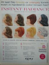 1961 Coty Cosmetics Instant Radiance Hair Color Rinse 7 Shades Color Print Ad
