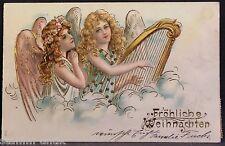Pracht Weihnachten Ak von 1905,Gold Prägung,Engel mit Flügel,Musik Harfe,Stern