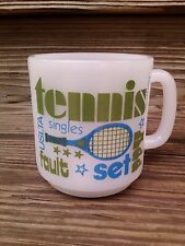Vtg Glasbake USA Milk Glass Coffee Mug Tennis Racquet Wimbledon Deuce Love