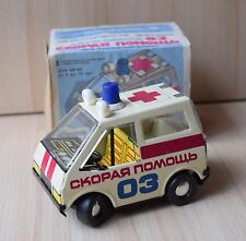 Vintage Collectible Russian USSR Tin Vehicle Toy Ambulance Emergency 03 In Box