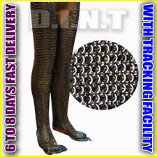 Chainmail Legging Flat Riveted Solid Ring Blackened Chainmail SK 534 YI