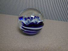 """Heavy Navy Blue & White Wave and Bubble Crystal Paperweight10"""" Diameter"""