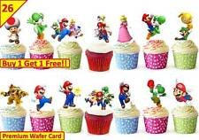 52 SUPER MARIO Birthday Cup Cake Fairy Edible Wafer Rice Toppers *STAND UP*