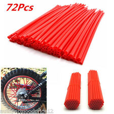 72Pcs Universal Motocross Dirt Bike Enduro Wheel Rim Spoke Wraps Skins Cover Red
