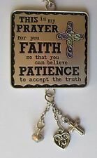 Faith Patience Cross Prayer for you CAR CHARM mirror ornament Ganz
