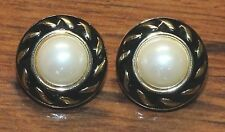 Unbranded Faux Centered Pearl Circular Stud Back Pierced Earrings w/ Black Trim