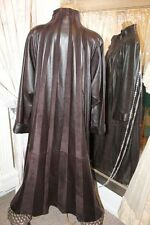 Brown leather full length coat - Ditsy Vintage Pirate Steampunk - Size M
