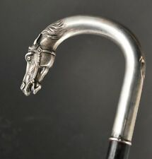 Antique Silver 935 walking stick cane, horse head 1920-30