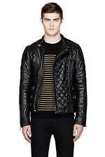 Balmain Quilted Leather Jacket Size 50 Asymmetrical Biker FW14 T280C254
