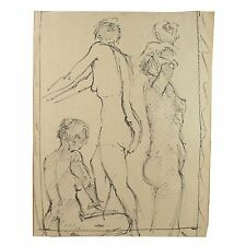 Standing Group 3 Nudes Ballet Barre Life Drawing Stella Rash 1950
