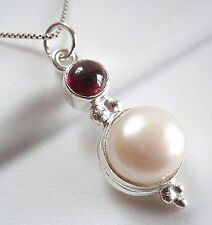 Red Garnet Cultured Pearl Necklace 925 Sterling Silver Double Gem Stone New