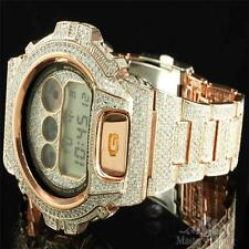 Iced Out Bezel Band Wristwatch GShock DW6900 Rose Gold Tone Copper G Shock Watch