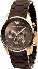 NEW EMPORIO ARMANI AR5890 MEN'S BROWN AND GOLD CHRONOGRAPH DIAL WATCH