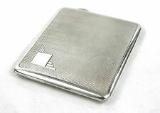Art Deco Sterling Silver Cigarette Case Engine Turned 109g Birmingham 1934 Heavy