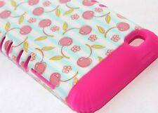 iPod Touch 4th Gen - HARD&SOFT RUBBER HYBRID ARMOR CASE PINK BLUE CHERRY FLOWERS
