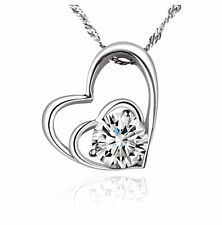 Fashion Women Heart 925 Sterling Silver Plated Pendant Necklace Chain Jewelry