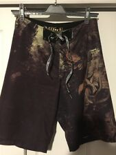 AFFLICTION BOARD SHORTS MENS SIZE 31 SURF Ancient Skull Chinese Man Vguc