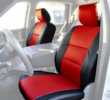 DODGE RAM 2009-2016 BLACK/RED S.LEATHER CUSTOM MADE FRONT SEAT COVERS TG