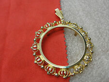 BEAUTIFUL COIN BEZEL PENDANT CROWNED GOLD FRAME HOLDER FOR 34MM COIN