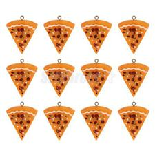 12 Plastic Pizza Food Pendant for Keyring Keychain Jewelery DIY Making