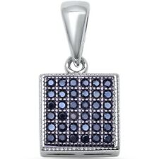 Micro Pave Square Solitaire Black Onyx .925 Sterling Silver Pendant