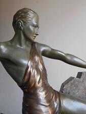 Grande Ancienne Sculpture Statue  Art Deco en Bronze  Panthere Athlete - BRAULT
