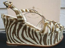 NEW $1250  Prada Platform Wedge 37.5 US 7.5 Sandal St. Zebra Calf Hair Brown