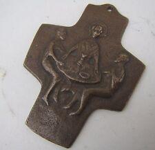 Old Bronze Cross with Religious Scene
