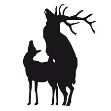 ELK MATING Funny Hunting Car Caravan Campervan Vinyl Decal Sticker Matt Black