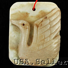 Attractive! Natural Jade Carved Swan Pendant Bead