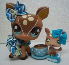LITTLEST PET SHOP CUTE BROWN SPOTTED DEER PAIR #2499 2500 SKIRT BOW ACCESSORIES