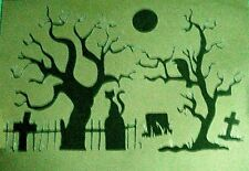 NA1 Cemetery Tree Zombie Cross Night Crow AIRBRUSH STENCILS Template Background