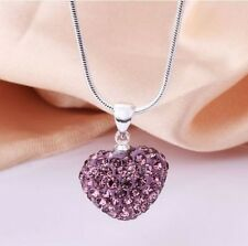 Fashion Women Pendant Jewelry Crystal Heart Sterling Silver Necklace Chain