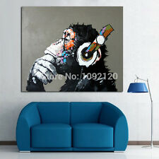 Not Framed Hand-painted Oil Painting Home Decor Banksy DJ Monkey Canvas Painting