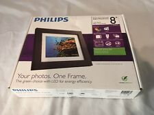 "Philips Home Essentials Digital Photo Frame Black Wood 8"" LCD Panel Picture NEW"