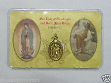 "† LAMINATED ""LADY GUADALUPE  ST JUAN DIEGO"" MEDAL DOUBLE SIDED PURSE HOLY CARD †"
