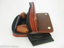 Martin Wess Sac À Pipe Country P9-2 / 2 Pipes / Cuir Vachette Italien