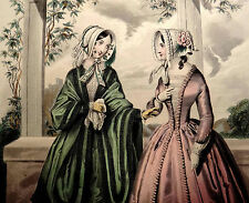 LE FOLLET 1845 Hand-Colored Fashion Plate #1243 Green & Pink Gowns ORIG.PRINT