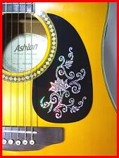 ACOUSTIC GUITAR PICKGUARD / SCRATCHPLATE SELF-ADHESIVE SILVER FLOWER DESIGN