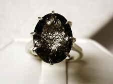 NATURAL tourmalated quartz black rutile 925 sterling silver ring size 8 USA