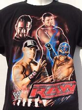 WWE RAW WWF WCW black t shirt  John Cena Plus 3 more YOUTH SIZE L large