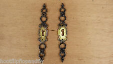 2 FANCY LONG PLATE ESCUTCHEONS KEY HOLES ANTIQUE BRONZE EFFECT CUPBOARD DOOR