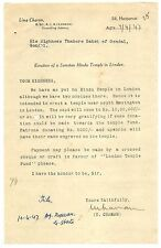 India 1947 letter about the Building of a SANATAN HINDU TEMPLE in London