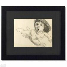 "ORIGINAL Pencil Drawing Charles Lynn Bragg ""Baby Cool"" Framed"
