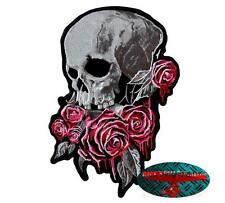 Livello di cessione bassissimo ROSES SKULL BACK PATCH RICAMATE aufbügler Biker ROSE Dead HARLEY USA