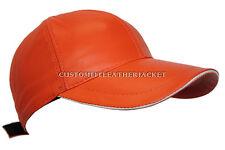 BASEBALL Orange unisex Real Soft nappa Lambskin genuine Leather Hip-Hop Cap Hat