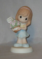 Thanks Friend Precious Moments Figurine Girl Flowers Blue Dress NWOB Friendship