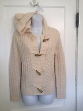 RALPH LAUREN Sz S IVORY ARAN IRISH FISHERMAN Hood TOGGLE CARDIGAN SWEATER