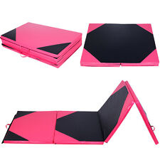 "4'x10'x2"" Gymnastics Mat Thick Folding Panel Gym Fitness Exercise Pink & Black"